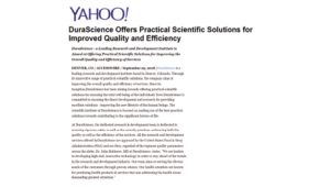 DuraScience Offers Practical Scientific Solutions For Improved Quality And Efficiency