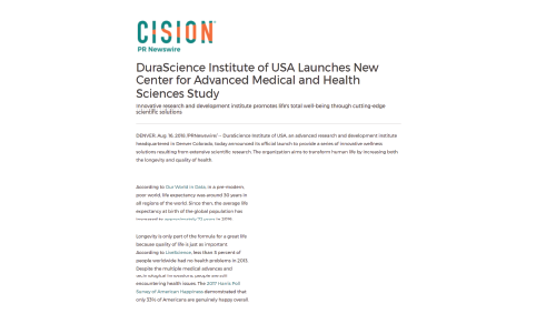DuraScience Institute Of USA Launches New Center For Advanced Medical And Health Sciences Study