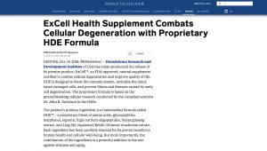 ExCell Health Supplement Combats Cellular Degeneration With Proprietary HDE Formula